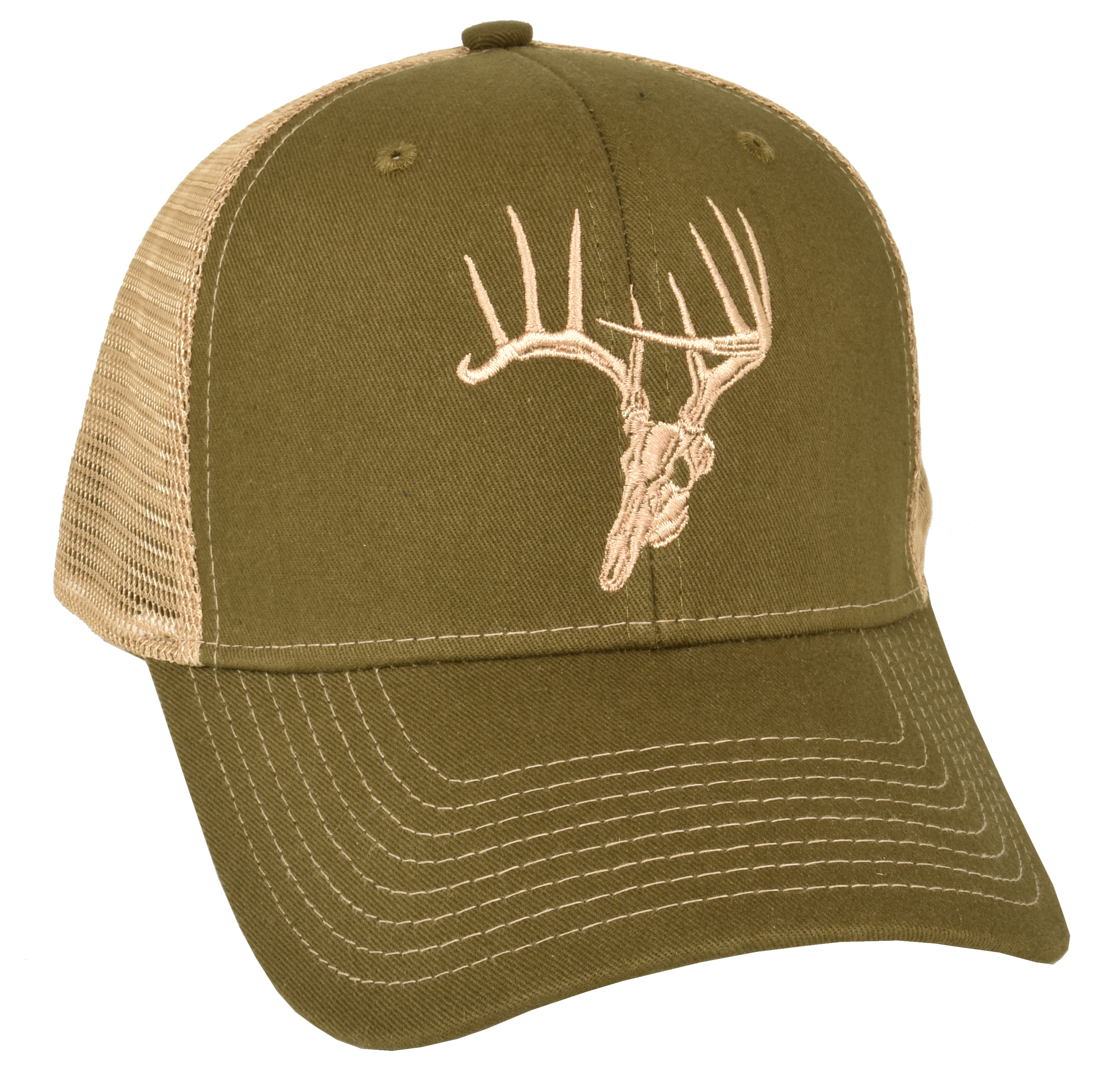72fcc671e8a Skullz Outdoors Embroidered Cap olive tan mesh back - Skullz Outdoors